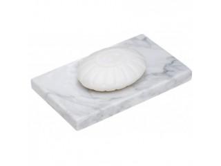Kwadratowa mydelniczka z kamienia naturalnego Bianko Carrara