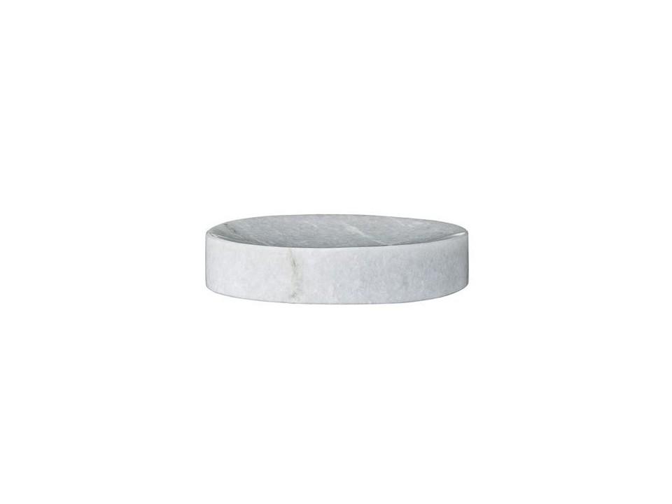 Okrągła mydelniczka z kamienia naturalnego Bianko Carrara