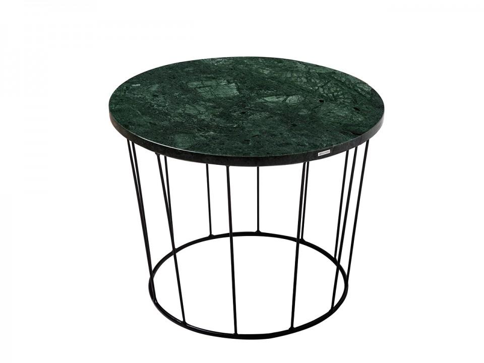 Loftowy stolik z pięknym zielonym kamiennym blatem