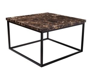 Brązowy, marmurowy stolik kawowy do salonu. Wymiar 72x72x43 cm, producent Artigiano