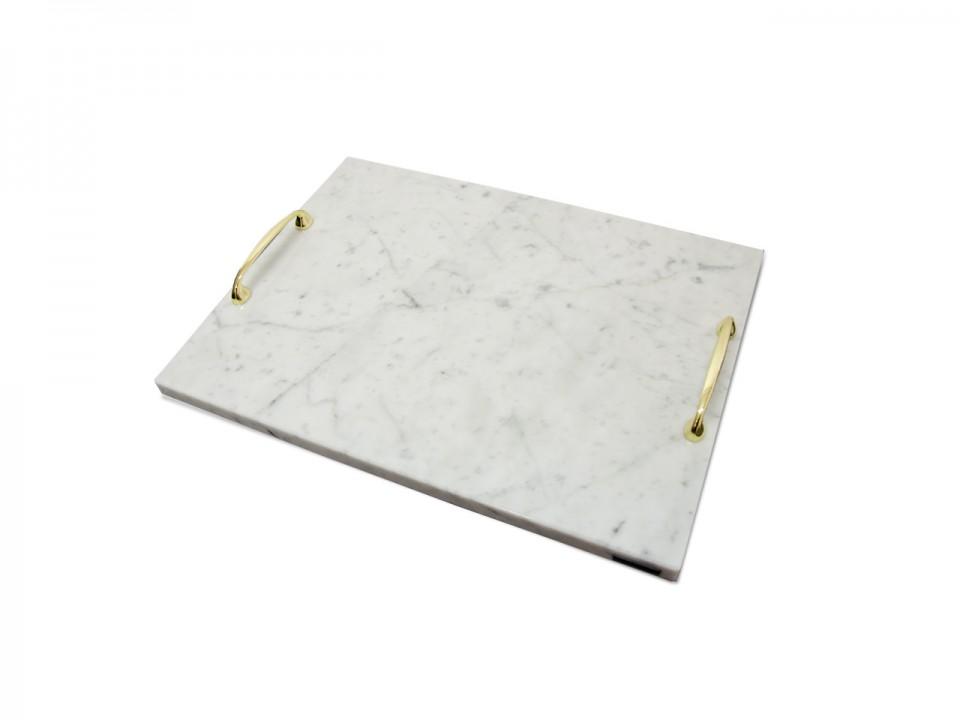 Biała marmurowa patra Bianco z dodatkiem złotych uchwytów. Wymiar 50x30cm