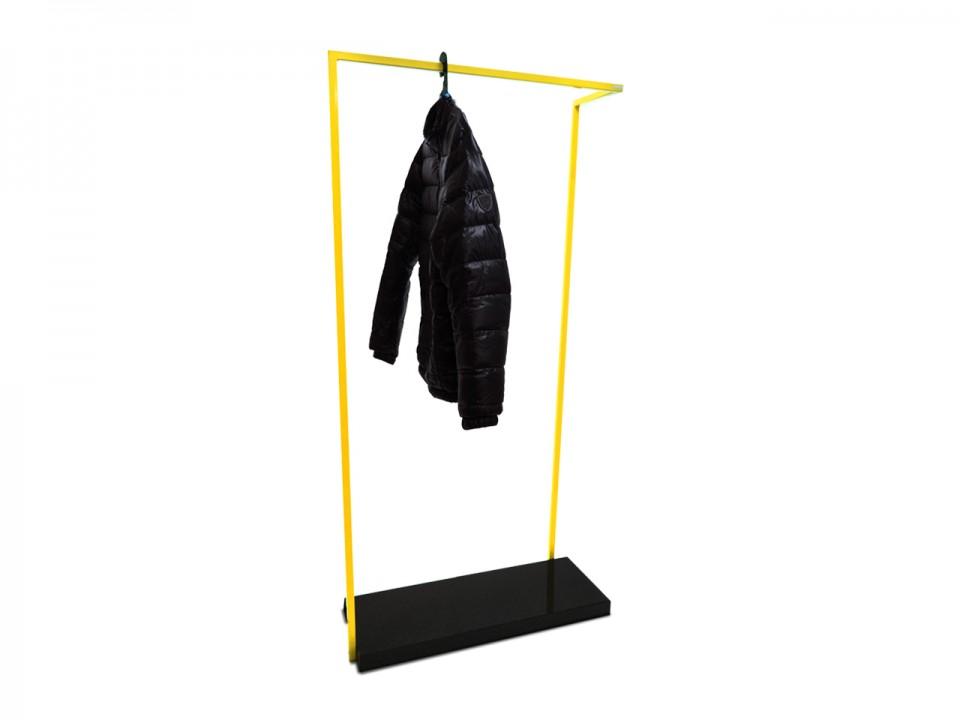 Wieszak stojak podlogowy na ubrania z graniotwą półką
