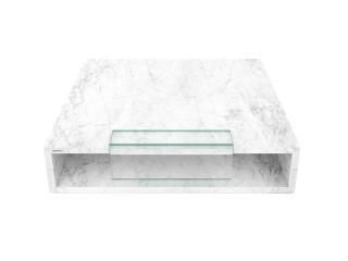 Nowoczesny stolik kawowy z białego marmuru o wymiarze 100 x 100 cm.