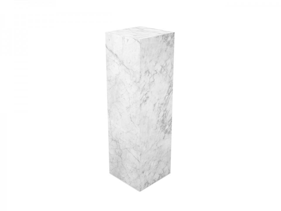 Kolumna dekoracyjna z białego marmuru-115x35x35 cm.