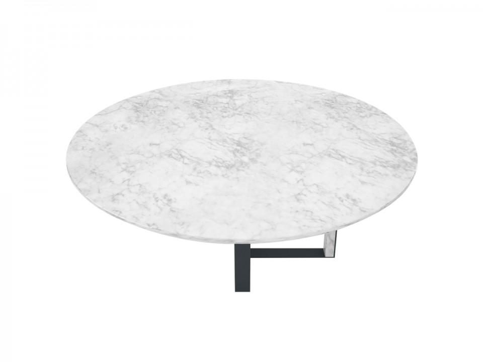 Okrągły stolik kawowy Circle-C marmurowy blat średnica 120cm, nogi antracyt