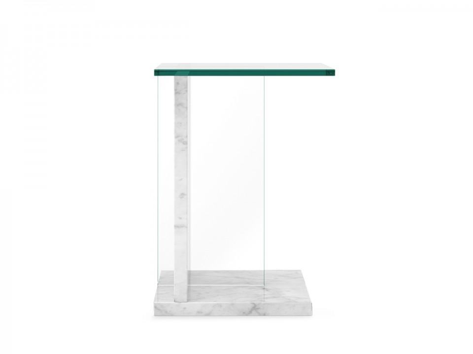Marmurowy stolik modułowy TransTop ze szklanym blatem. Wymiar 40x35cm, wysokość 55cm