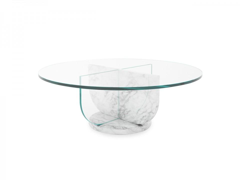 Okrągły stolik marmurowy Sphere z blatem szklanym średnica 90cm