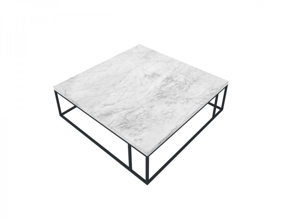 Stolik kawowy z marmuru w kształcie kwadratu na metalowym stelażu.