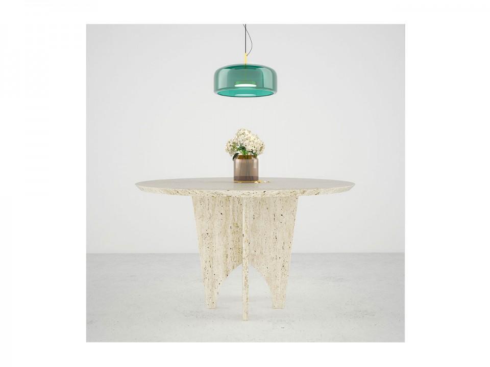 Unikatowy stół do jz włoskiego traweradalni, okrągły wykonany tynu.